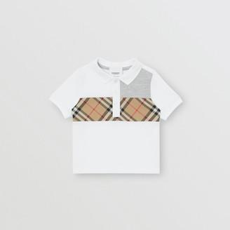 Burberry (バーバリー) - Burberry ヴィンテージチェックパネル コットンポロシャツ