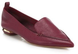 Nicholas Kirkwood Beya Pebbled Leather Point-Toe Loafers $475 thestylecure.com