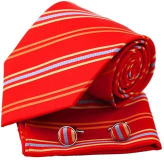 IDEA EAC1040 Black Striped Party Presents Silk Necktie Handkerchiefs Cuffilinks Set Luxury Gift By Epoint