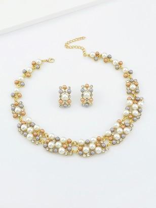 Shein Costume Jewelry Fake Pearl Women Necklace Earrings Set