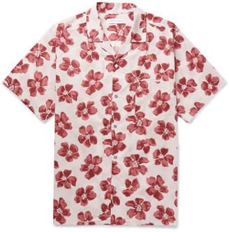 Desmond & Dempsey - Printed Cotton Pyjama Shirt - Red