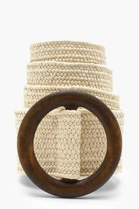 boohoo Wood Buckle Straw Belt