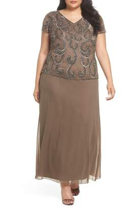 Pisarro Nights Beaded Mock Two-Piece Gown (Plus Size)