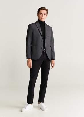 MANGO MAN - Slim fit herringbone structured blazer grey - 40 - Men