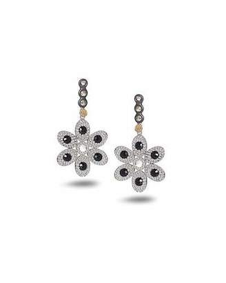 Coomi Opera Flower Earrings with Black Spinel & Diamonds