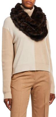 Gorski Mink Fur Knit Infinity Scarf