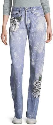 Rialto Jean Project Women's Vintage 501 Splatter Rose Boyfriend Jeans