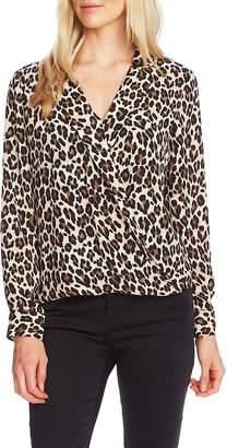 Vince Camuto Notch Collar Leopard Print Blouse