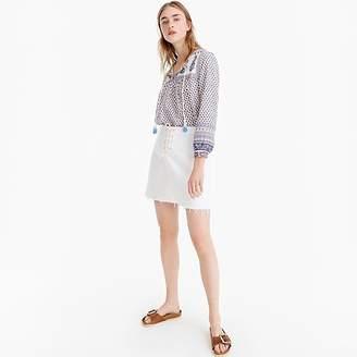 J.Crew Lace-up denim mini skirt with raw hem