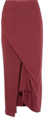 Rick Owens Lilies Wrap-Effect Gathered Stretch-Jersey Midi Skirt