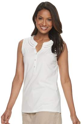 Croft & Barrow Women's Petite Trimmed-Neck Sleeveless Henley Top