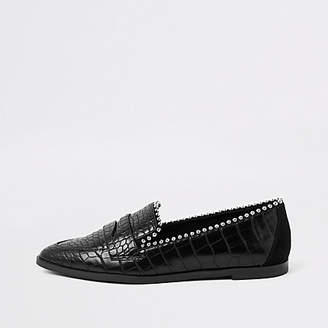 River Island Womens Black croc embossed pearl embellished loafers