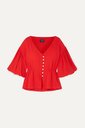 Mother of Pearl Faux Pearl-embellished Lyocell Top - Red