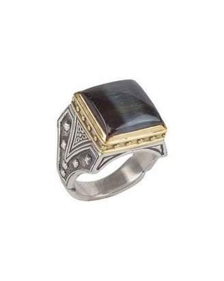 Konstantino Men's Sterling Silver & 18K Gold Square Ring with Hawk's Eye $1,660 thestylecure.com