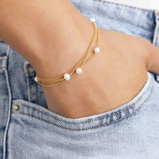 Lily & Roo - Solid Gold Layered Pearl Bracelet