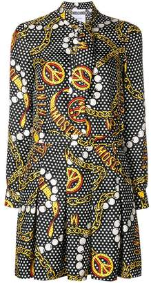 Moschino jewels print twill short dress