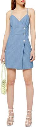Topshop Stripe Denim Wrap Minidress