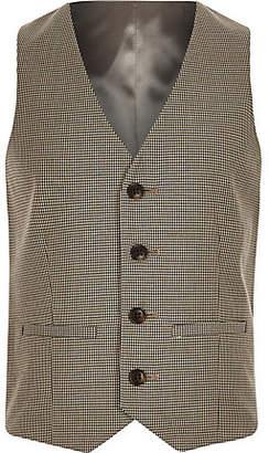 River Island Boys brown check suit vest