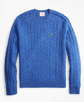 Brooks Brothers Cable-Knit Wool-Blend Crewneck Sweater