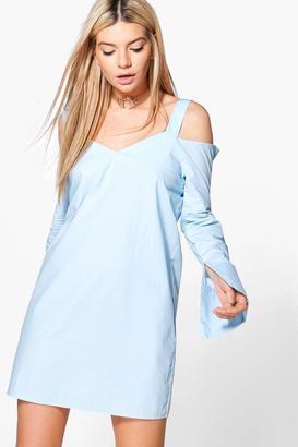 boohoo Nicole Cold Shoulder Shirt Dress
