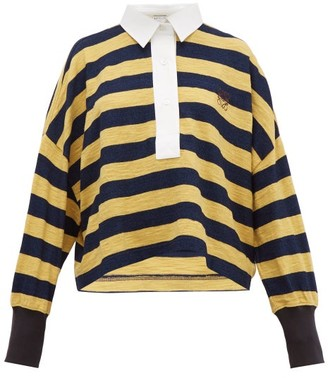 Loewe Stripe Cotton Knitted Polo Top - Womens - Yellow Multi