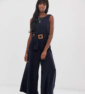 Asos Tall DESIGN Tall soft denim belted wide leg jumpsuit