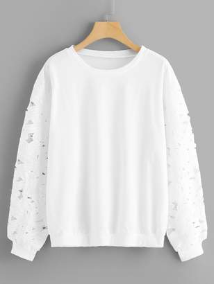 Shein Plus Floral Lace Sleeve Solid Sweatshirt