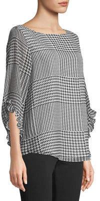 Iconic American Designer Printed Chiffon Ruffle-Sleeve Blouse