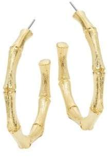 Kenneth Jay Lane Medium Goldtone Bamboo Hoop Earrings