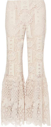 Anna Sui Guipure Lace Flared Pants - Cream
