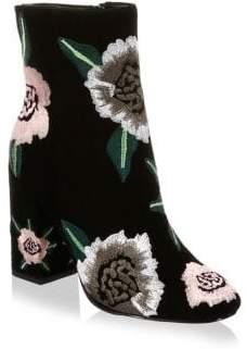 Rebecca Minkoff Bryce Embroidered Suede Block Heel Booties