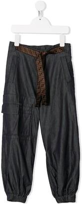 Fendi FF logo belt cargo trousers