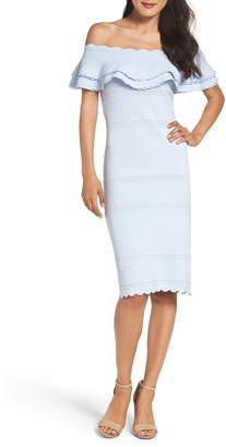 56b567a46442 Eliza J Off the Shoulder Ruffle Sheath Dress