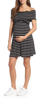 Maternal America Off the Shoulder Ribbed Maternity Dress