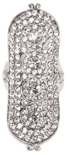 Silver Long Shield Rhinestone Stretch Ring
