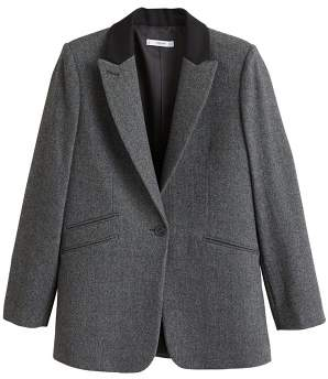 MANGO Contrast flap blazer