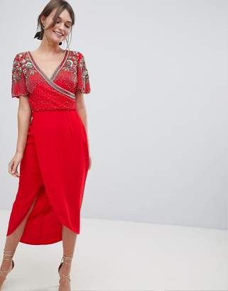 Virgos Lounge Julisa Embellished Wrap Midi Dress