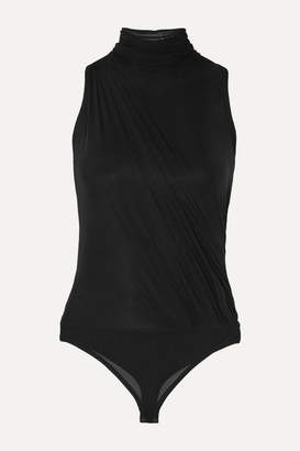 Herve Leger Ruched Stretch-mesh Thong Bodysuit - Black