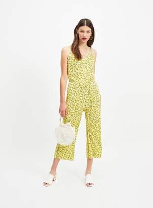 Miss Selfridge Lemon Ditsy Print Plisse Jumpsuit