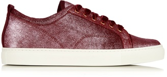 LANVIN Metallic-leather low-top trainers $473 thestylecure.com