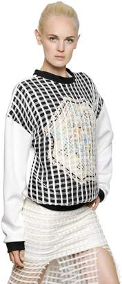 Cotton Crochet & Neoprene Sweatshirt