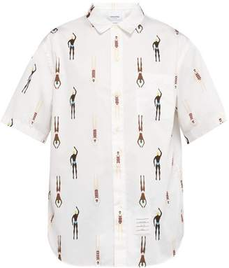 Thom Browne Swimmer Print Short Sleeved Cotton Shirt - Mens - White