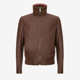 Bally Nappa Leather Bomber Jacket with Trainspotting Stripe Collar