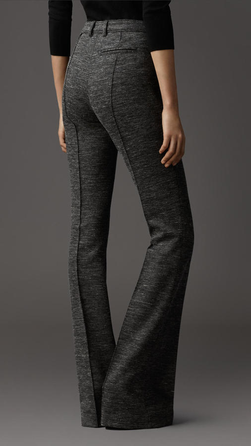 Burberry Melange Wool Flared Trousers