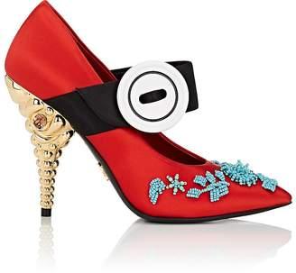 Prada Women's Jeweled-Heel Satin Mary Jane Pumps