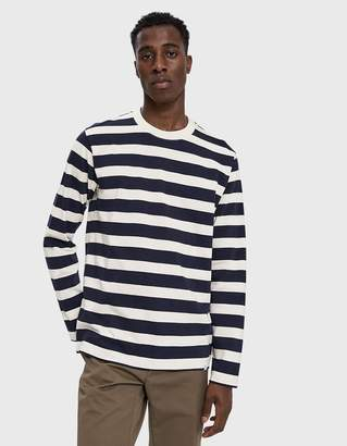 Norse Projects L/S Johannes Rugby Stripe Tee in Navy