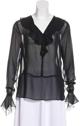 Karl Lagerfeld Semi-Sheer Long Sleeve Blouse w/ Tags