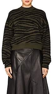 Proenza Schouler Women's Tiger-Pattern Rib-Knit Sweater - Grn. Pat.