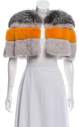 Fur Fur Cutout Shrug Grey Fur Fur Cutout Shrug