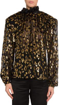 Saint Laurent Golden Leopard Burnout Velvet Blouse